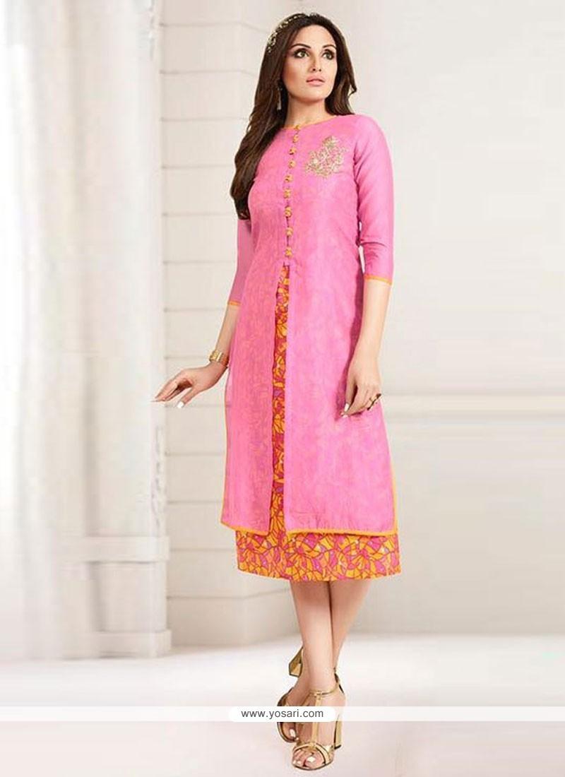 Attractive Embroidered Work Pink Chanderi Designer Kurti