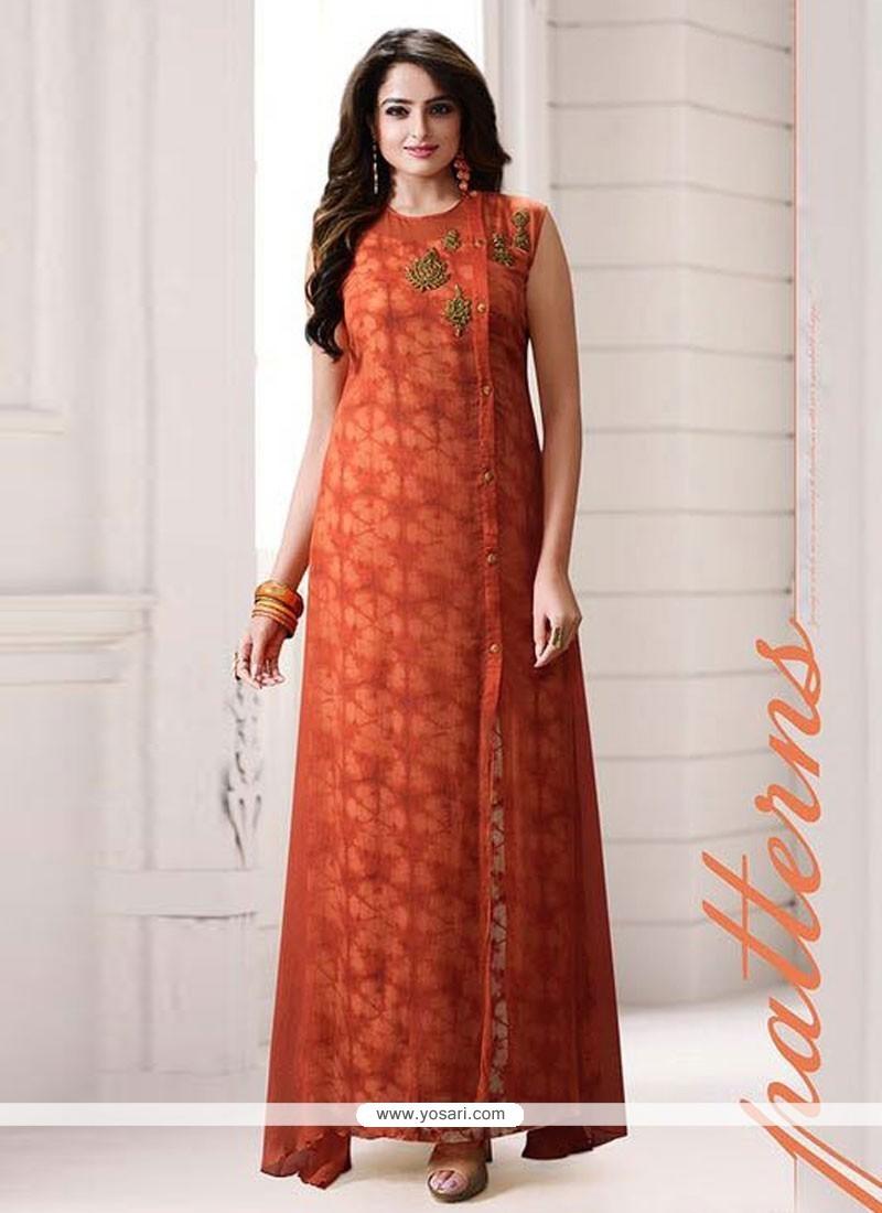 Customary Print Work Orange Designer Kurti