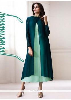 Opulent Georgette Green Designer Kurti