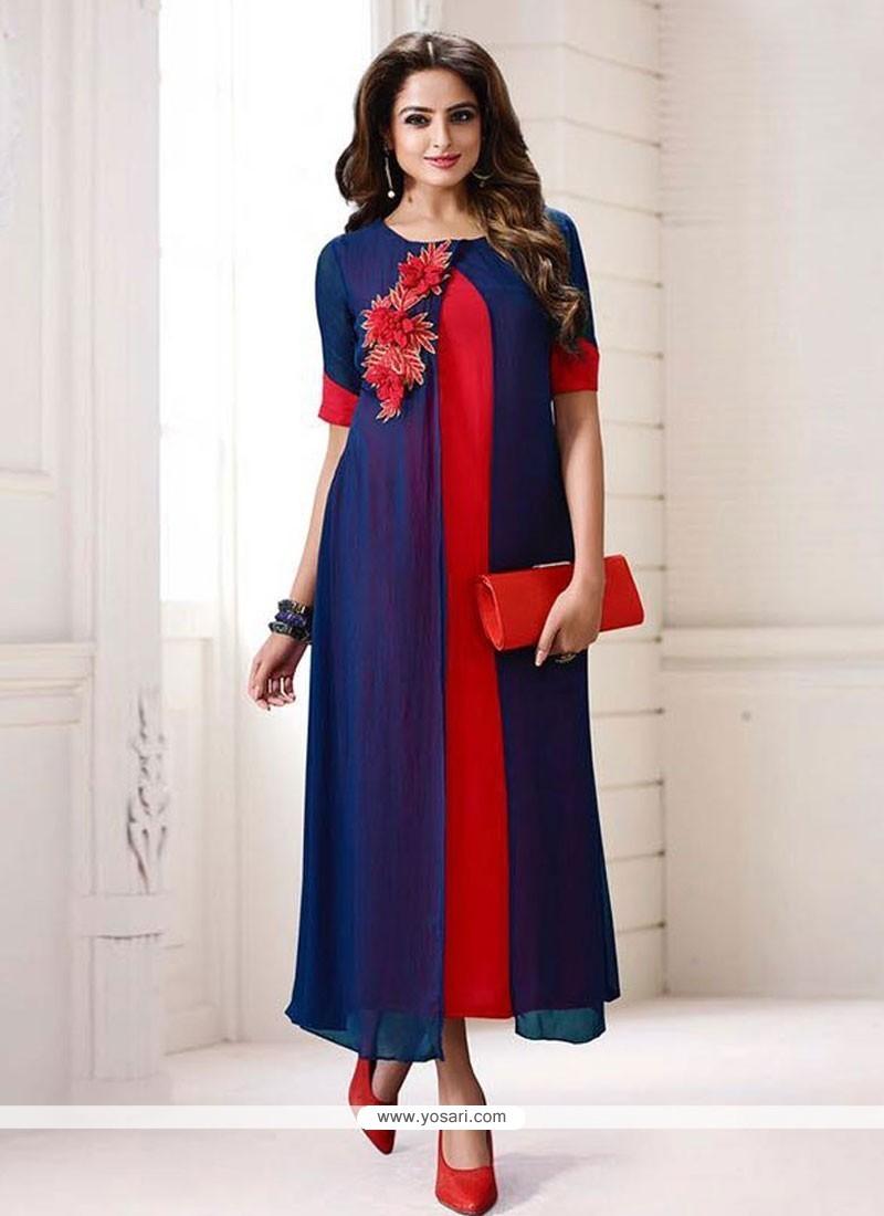 Buy Wonderous Blue Designer Kurti Party Wear Kurtis