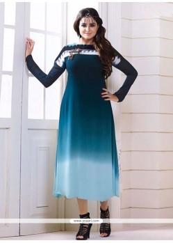 Exuberant Georgette Blue Designer Kurti