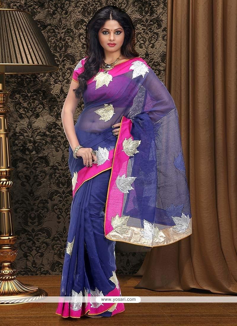 Delightful Blue Supernet Saree