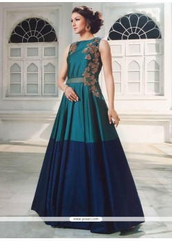 Staggering Embroidered Work Silk Blue Designer Gown