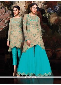Resham Silk Designer Suit In Turquoise
