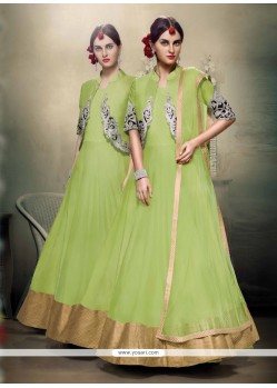 Majestic Patch Border Work Green Net Designer Floor Length Suit