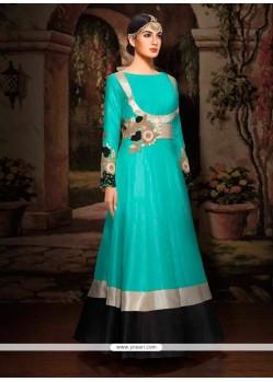 Artistic Turquoise Designer Floor Length Suit