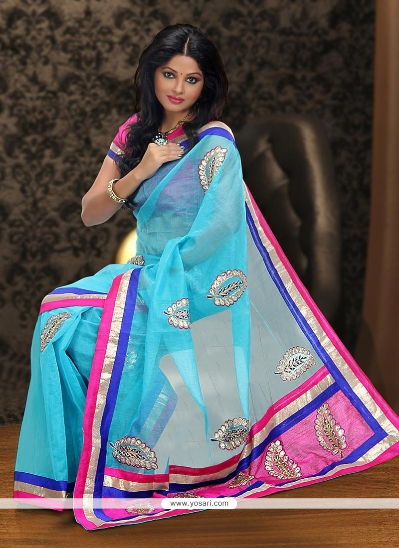 Turquoise Blue Supernet Party Wear Saree