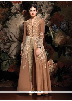 Preferable Brown Resham Work Designer Suit