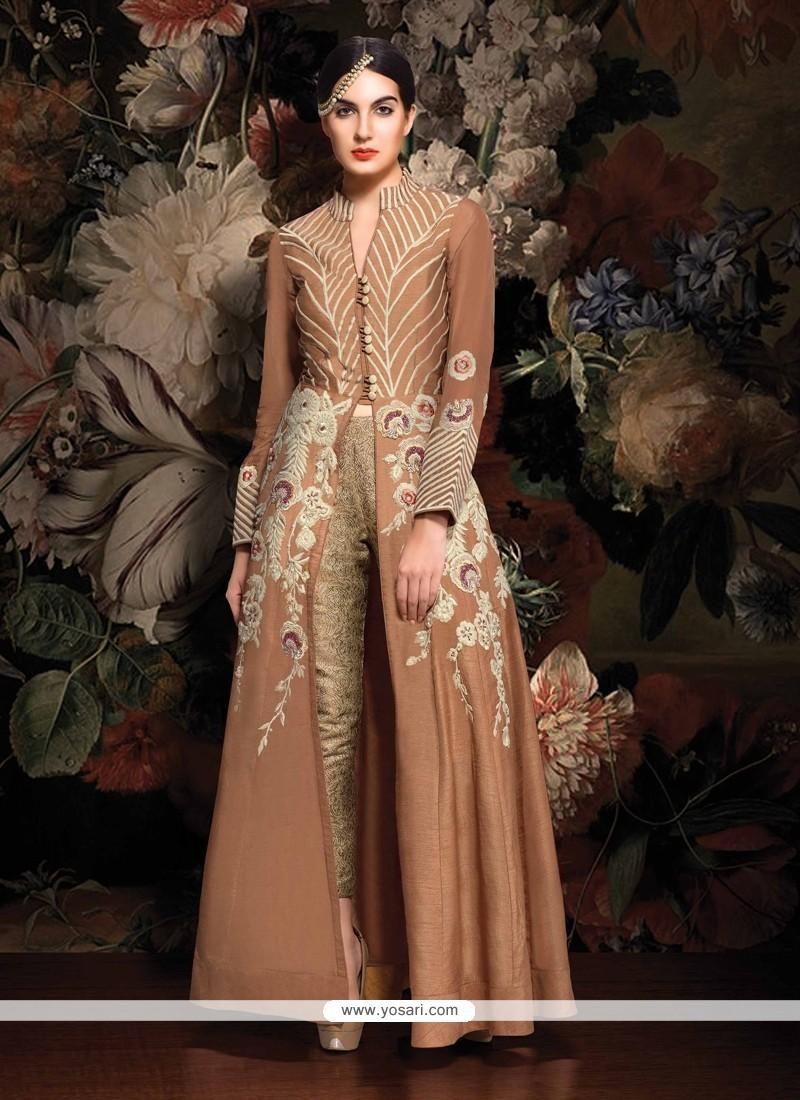 Preferable Brown Resham Work Designer Suit