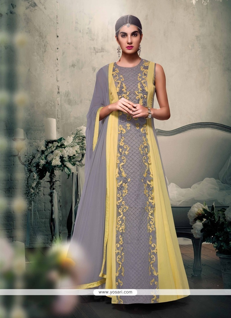 Peppy Georgette Embroidered Work Designer Floor Length Suit