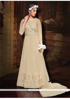 Adorning Embroidered Work Silk Cream Designer Floor Length Suit
