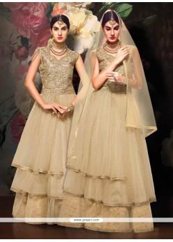 Competent Banglori Silk Beige Designer Floor Length Suit