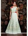Staggering Net Off White Designer Floor Length Suit