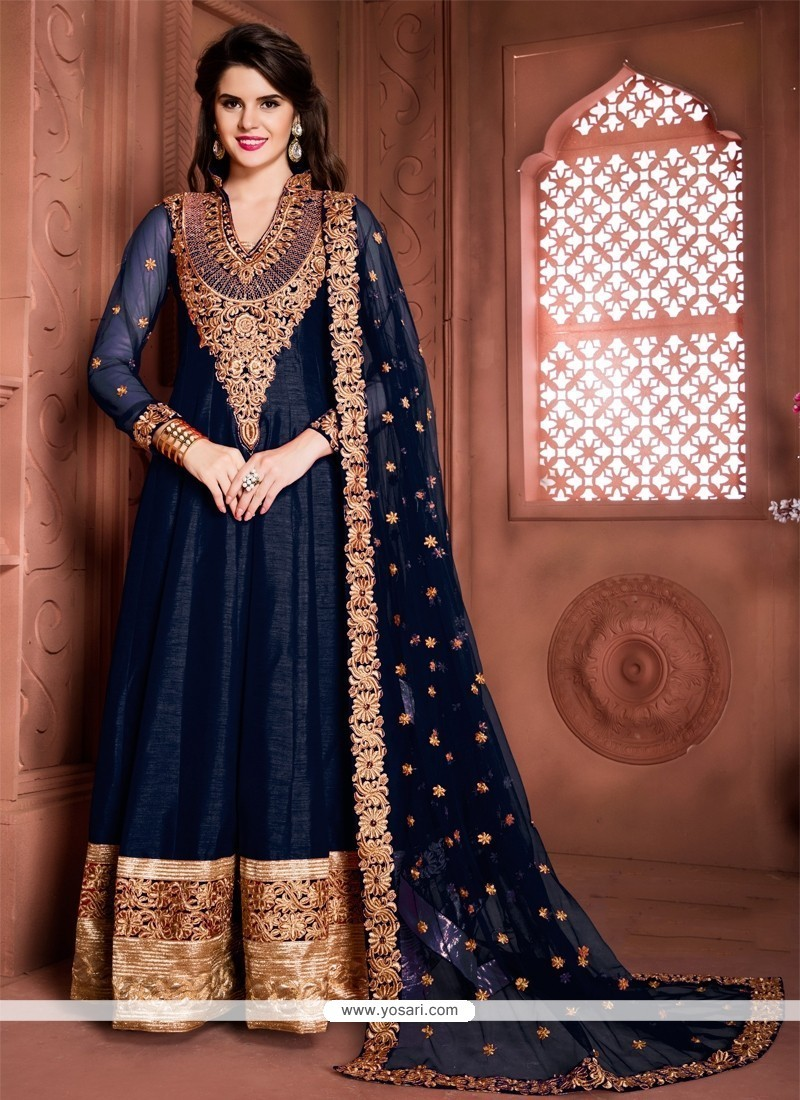Simplistic Embroidered Work Banglori Silk Designer Floor Length Suit