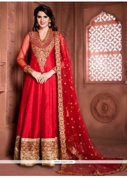 Entrancing Red Embroidered Work Banglori Silk Designer Floor Length Suit
