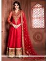 Entrancing Red Embroidered Work Banglori Silk Designer Floor Length Suit