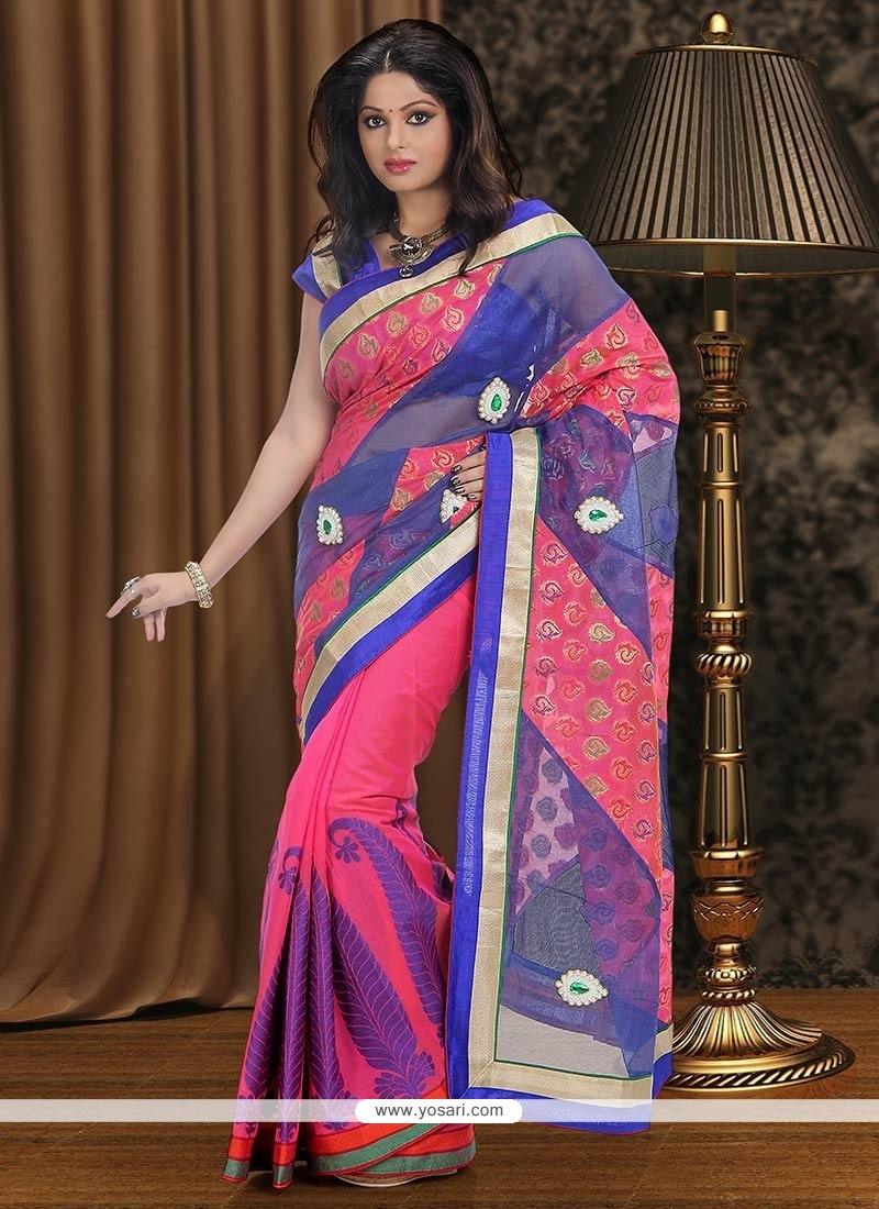 Charismatic Blue And Pink Chanderi Saree