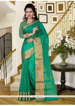 Transcendent Sea Green Patch Border Work Saree