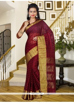 Magnetic Wine Patch Border Work Silk Trendy Saree