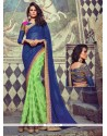 Angelic Jacquard Green Designer Half N Half Saree