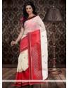 Cream And Red Chanderi Cotton Saree