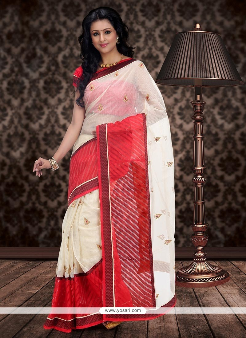 Cream And Red Chanderi Cotton Saree