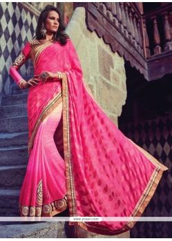 Flattering Chiffon Satin Hot Pink Designer Half N Half Saree
