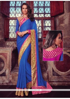 Voluptuous Blue Patch Border Work Jacquard Designer Traditional Sarees