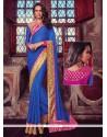 Voluptuous Blue Patch Border Work Jacquard Designer Traditional Sarees
