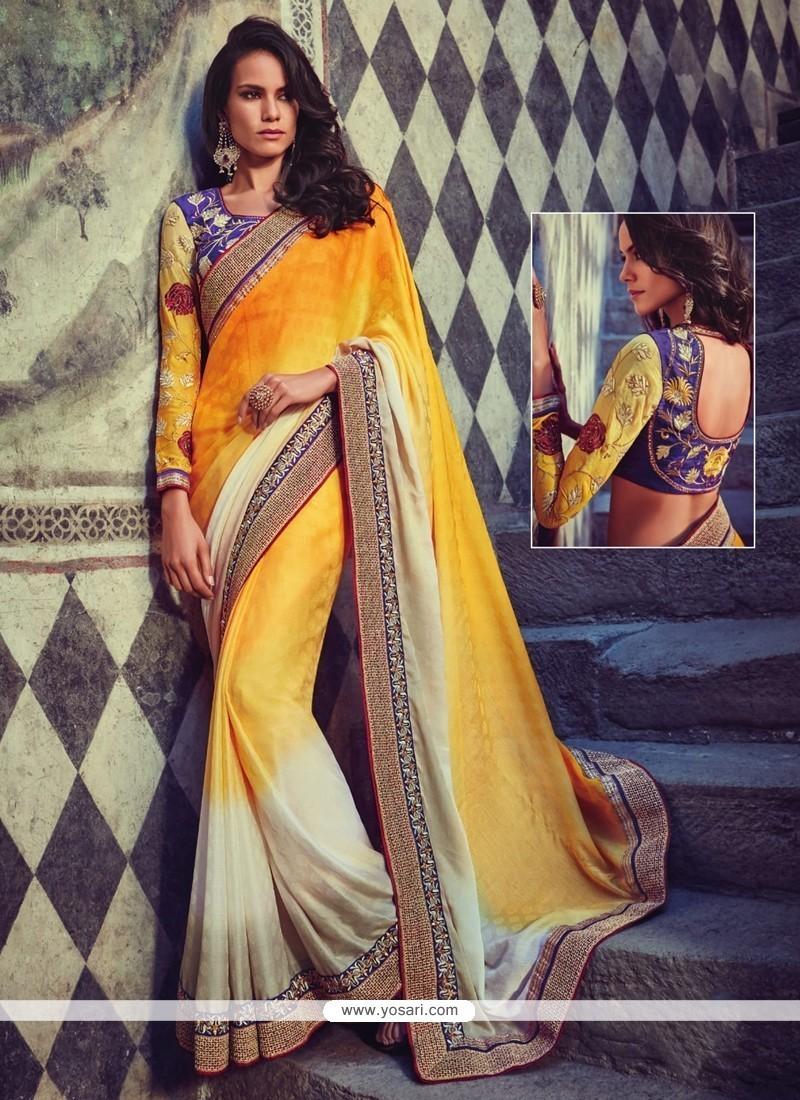 Staggering Embroidered Work Yellow Jacquard Classic Designer Saree