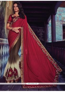 Stupendous Maroon Patch Border Work Jacquard Designer Half N Half Saree