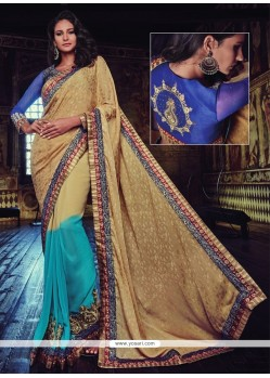 Superb Beige And Blue Embroidered Work Designer Half N Half Saree