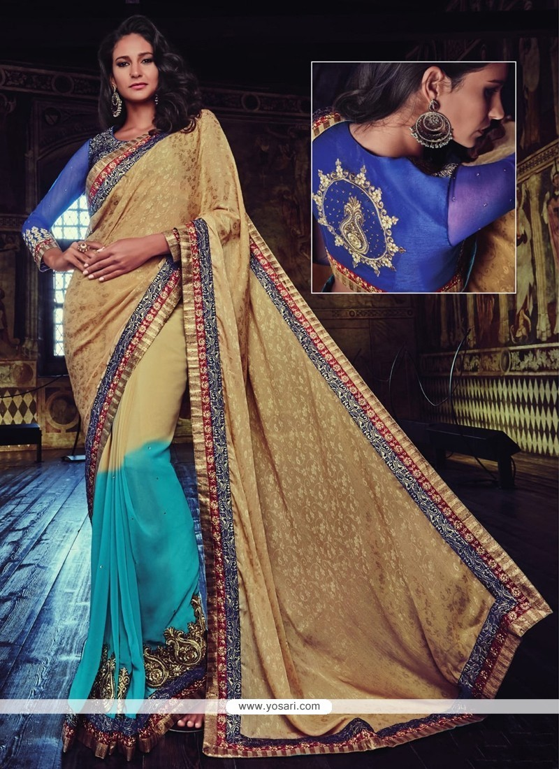 Superb Beige And Blue Embroidered Work Designer Half N Half Saree
