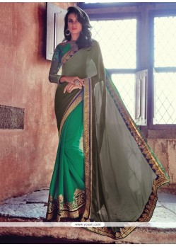 Flamboyant Embroidered Work Designer Half N Half Saree