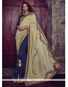 Embroidered Jacquard Designer Half N Half Saree In Navy Blue