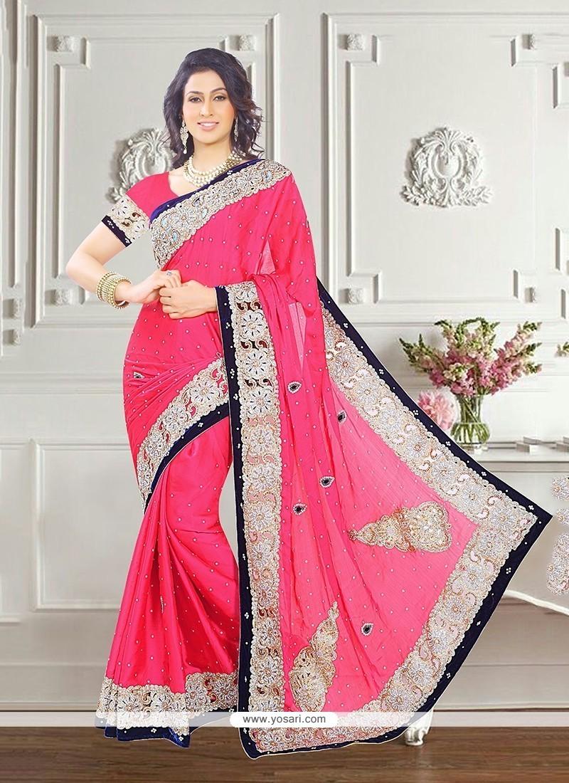 Energetic Embroidered Work Chiffon Satin Traditional Designer Sarees