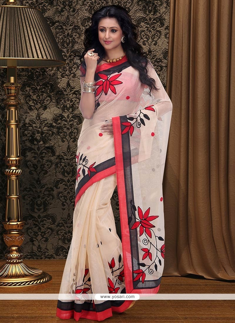 Amazing Cream Supernet Saree