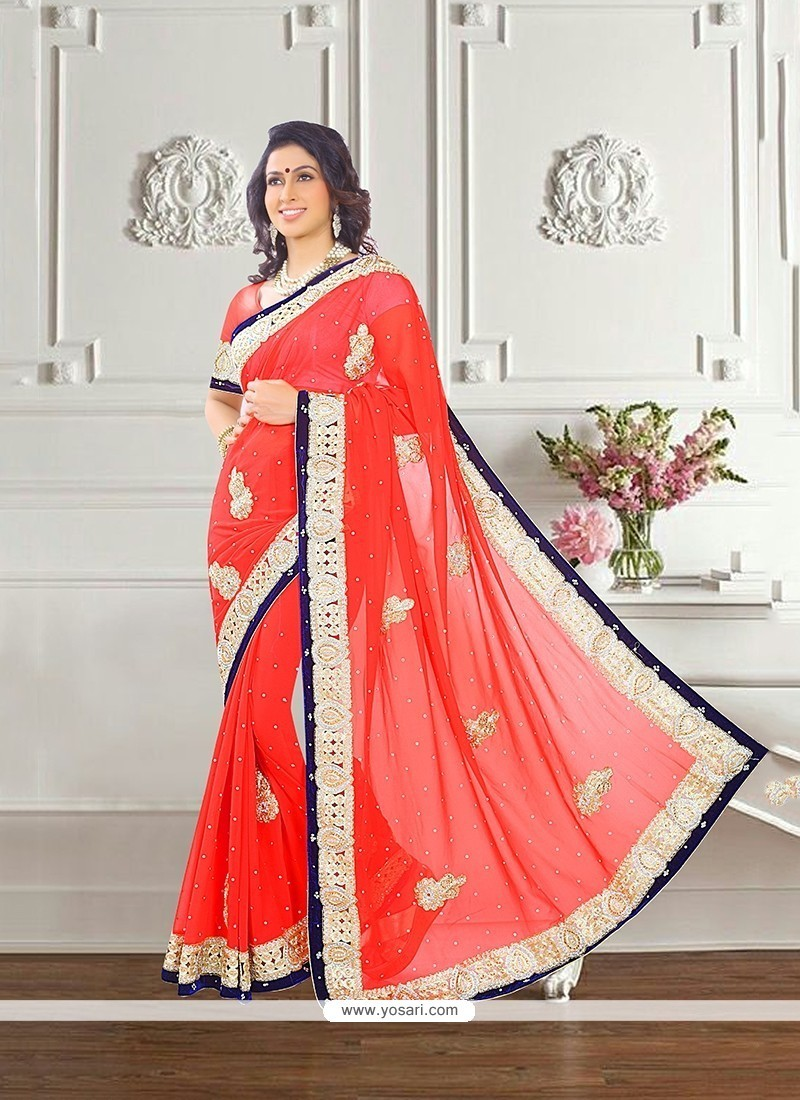 Princely Red Patch Border Work Traditional Saree