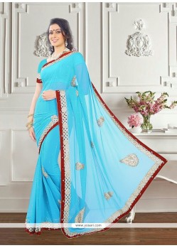 Extraordinary Georgette Turquoise Classic Saree