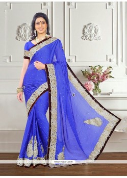 Astounding Embroidered Work Georgette Designer Saree
