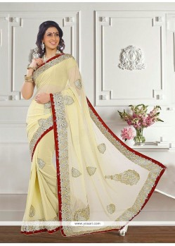 Charming Cream Patch Border Work Georgette Classic Designer Saree