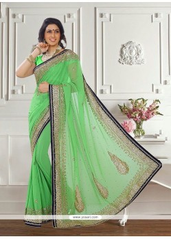 Fashionable Georgette Patch Border Work Traditional Saree
