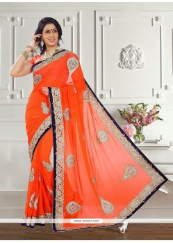 Masterly Embroidered Work Georgette Trendy Saree