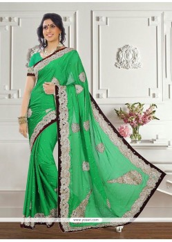 Vibrant Chiffon Satin Embroidered Work Classic Designer Saree