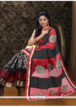 Black And Red Supernet Half And Half Saree