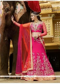 Dashing Embroidered Work Hot Pink A Line Lehenga Choli