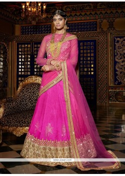 Patch Border Net A Line Lehenga Choli In Hot Pink