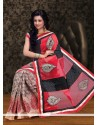 Black And Red Half And Half Saree