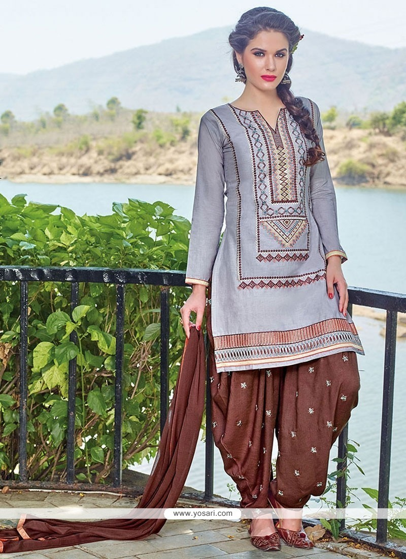 Astonishing Grey Embroidered Work Cotton Designer Patiala Salwar Kameez