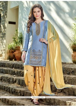Heavenly Embroidered Work Blue Cotton Designer Patiala Salwar Kameez
